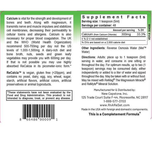 ReCalcia - Calciumoplossing | Dr Dean's Pico-ion Vloeibaar Calcium - 240ml