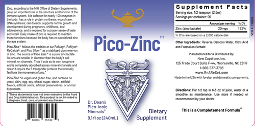 Pico-Zinc - Zinkoplossing   Dr Dean's Pico-ion Vloeibaar Zink - 240ml
